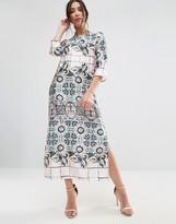 Traffic People 3/4 Sleeve Mixed Print Midi Dress