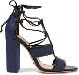 Schutz Maxine lace-up denim sandals