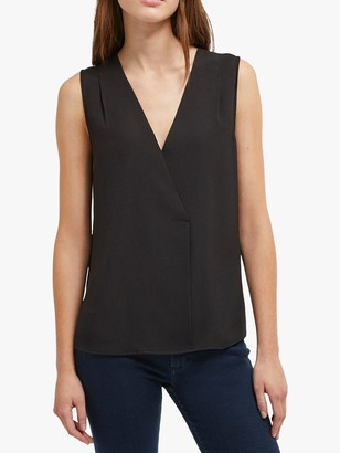 French Connection Crepe Cross Over V-Neck Sleeveless Top