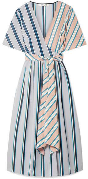 Diane von Furstenberg Striped Cotton Wrap Dress - Sky blue