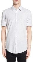 BOSS Slim Fit Short Sleeve Stripe Sport Shirt