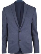 River Island Blue Flecked Muscle Fit Suit Jacket