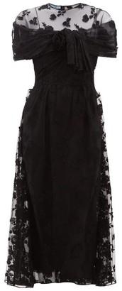 Prada Floral-applique Ruched-mesh Dress - Womens - Black