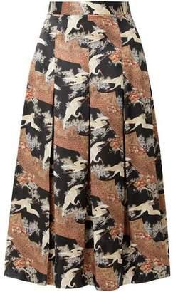 Co Pleated Printed Silk-satin Midi Skirt