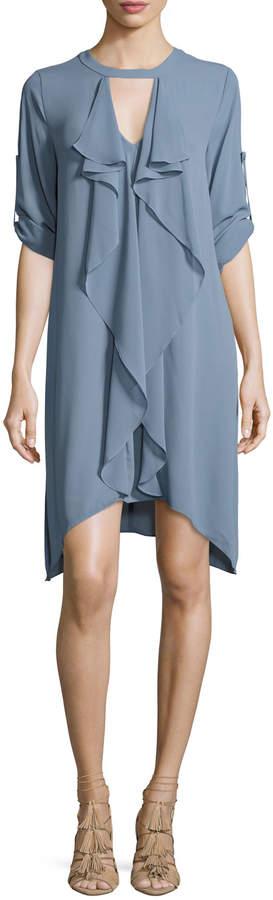 Thumbnail for your product : BCBGMAXAZRIA Cascade-Ruffle Shift Dress, Light Blue