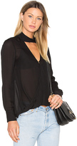Derek Lam 10 Crosby Long Sleeve Drape Front Collar Detail Blouse in Black. - size 4 (also in )