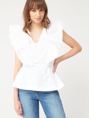 Very Ruffle CottonBlouse - White