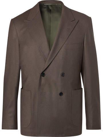 Camoshita Grey Double-Breasted Wool-Twill Blazer