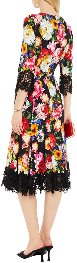 Thumbnail for your product : Dolce & Gabbana Guipure Lace-trimmed Floral-print Crepe Midi Dress