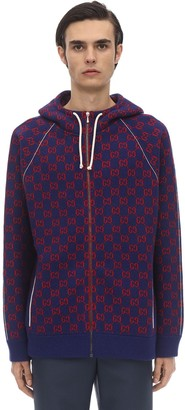 Gucci KNIT ZIPPED WOOL CASHMERE BOMBER HOODIE