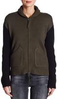 L.A.M.B. Two-Tone Wool Blend Zip Sweater