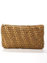 AERIN Brown Woven Design Zipper Closure Gold Tone Clutch Handbag