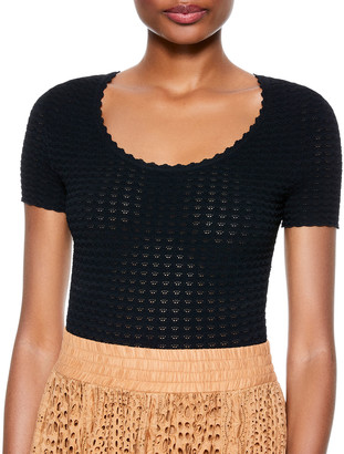 Alice + Olivia Ciara Cropped Pointelle Scoop-Neck Sweater