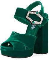 Prada Jeweled Velvet Block-Heel Sandal