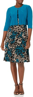 Danny and Nicole Danny & Nicole Women's ITY Solid & Floral Print Jacket Dress