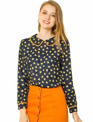 Allegra K Women's Ruffle Peter Pan Collar Cute Heart Print Long Sleeve Blouse Top Dark Blue L