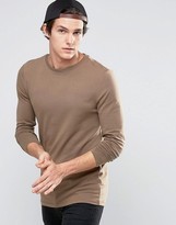 Asos Longline Muscle Long Sleeve T-Shirt In Tan