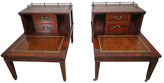 One Kings Lane Vintage English Leather Two-Tiered Tables - Set of 2 - reddish brown