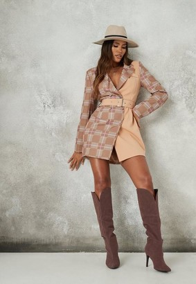 Missguided Brown Plaid Contrast Blazer Dress