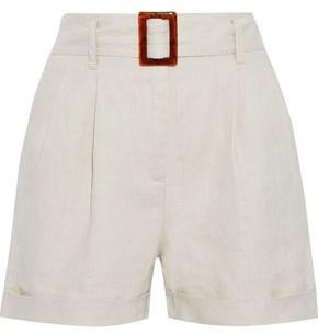 Iris & Ink Dalea Belted Linen-gauze Shorts