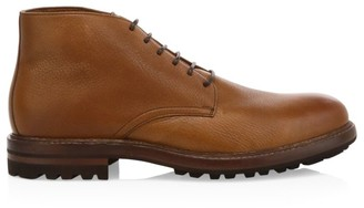 Brunello Cucinelli Shearling-Lined Leather Chukka Boots