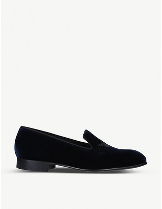 Church's Sovereign crown-embroidered velvet loafers