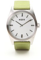 Neff NF0223-SLOL Men's Nightly Stainless Steel Case Green Nylon Band Dial Watch