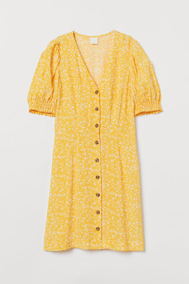 H&M Puff-sleeved Dress - Yellow