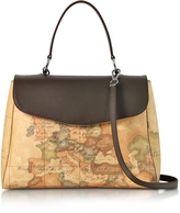 Alviero Martini Geo Print Coated Canvas and Leather Satchel Bag w/Shoulder Strap