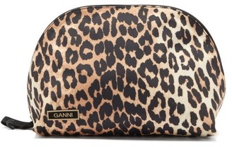 Ganni Leopard-print Recycled-shell Wash Bag - Leopard