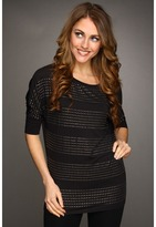 Kenneth Cole New York - Studded Stripe Boat Neck Batwing Top (Black) - Apparel