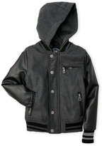 Urban Republic Boys 8-20) Charcoal Hooded Mixed Media Varsity Jacket