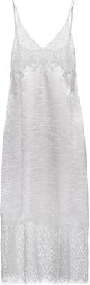Prada V-Neck Lace-Panel Mid-Length Dress