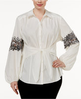 INC International Concepts Plus Size Lace-Trim Tie-Front Shirt, Only at Macy's