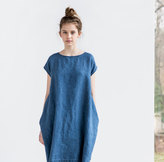 Etsy Denim color linen cocoon dress with short or 3/4 sleeves