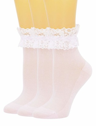 SEMOHOLLI Women Lace Ankle Socks Ruffle Frilly Cotton Socks Trim Lace Anklet socks Dress Socks Women or Girls - Pink - Large
