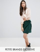Alter Petite Wrap Front Mini Skirt With Tie Side Detail