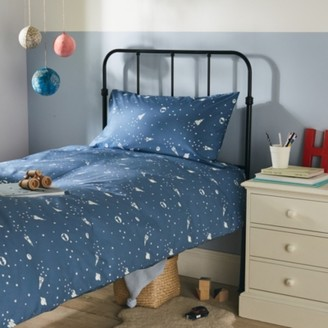 The White Company Space Glow-In-The-Dark Bed Linen Set, Blue, Cot Bed
