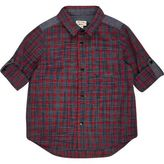 River Island Mini boys red check panel shirt