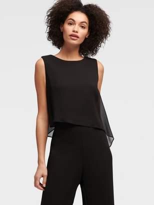 DKNY Sleeveless Jumpsuit With Chiffon Overlay