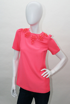 Neon Pink Jewel Patch Crew Neck Top