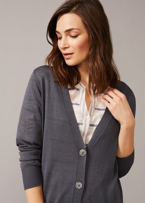 Phase Eight Lalou Longline Button Knit Cardigan