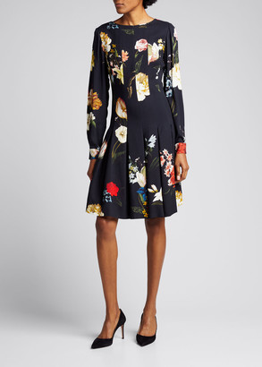 Oscar de la Renta Floral-Print Pleated Long-Sleeve Dress