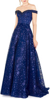 Mac Duggal Beaded Off-the-Shoulder Sweetheart Novelty A-Line Gown