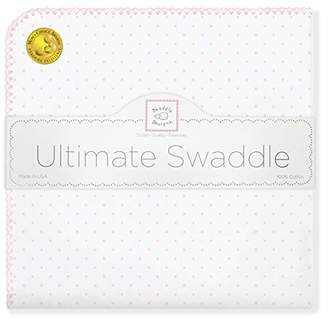 Swaddle Designs Ultimate Winter Swaddle, X-Large Receiving Blanket, Made in USA, Premium Cotton Flannel, Pastel Pink Classic Polka Dots (Mom's Choice Award Winner)