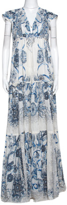 Roberto Cavalli Blue Printed Cotton Gathered Maxi Dress L