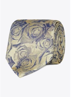 Jeff Banks Digital Roses Silk Tie - Gold