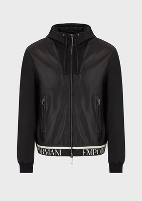 Emporio Armani Lambskin Nappa Leather Jacket With Water Repellent Back And Sleeves