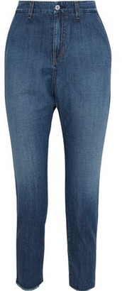 Nili Lotan Paris Frayed Faded Low-rise Tapered Jeans
