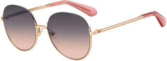 Kate Spade Astelle Semi-Rimless Round Stainless Steel Sunglasses